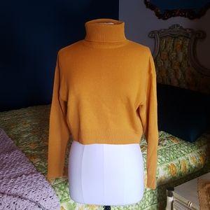 Mustard cropped knit sweater